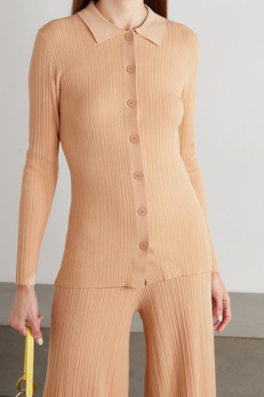 Ninety Percent Ribbed Lyocell-blend cardigan