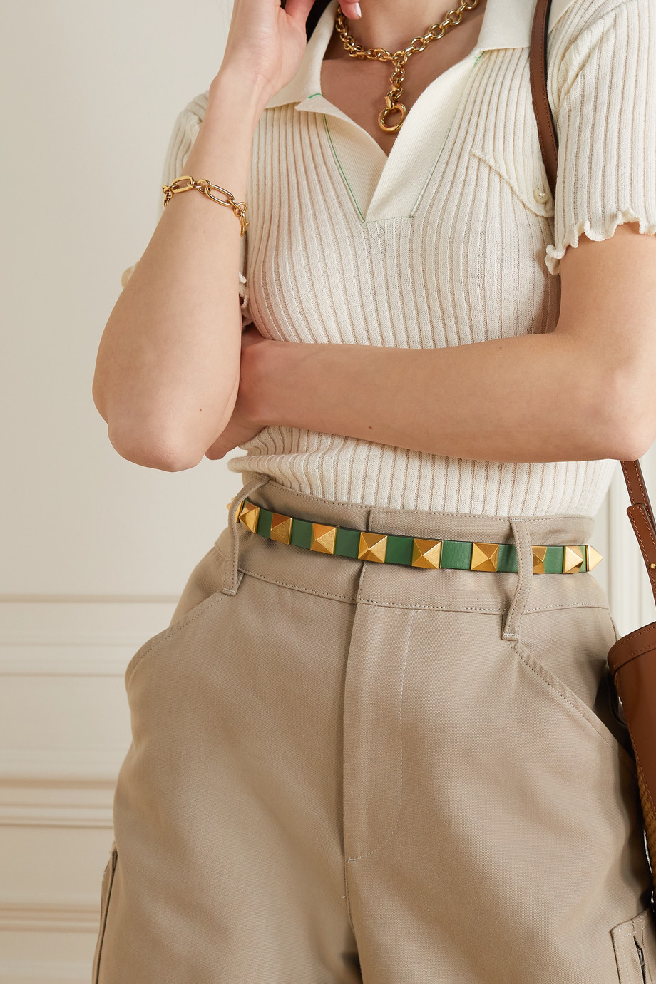 Valentino Valentino Garavani Rockstud leather waist belt