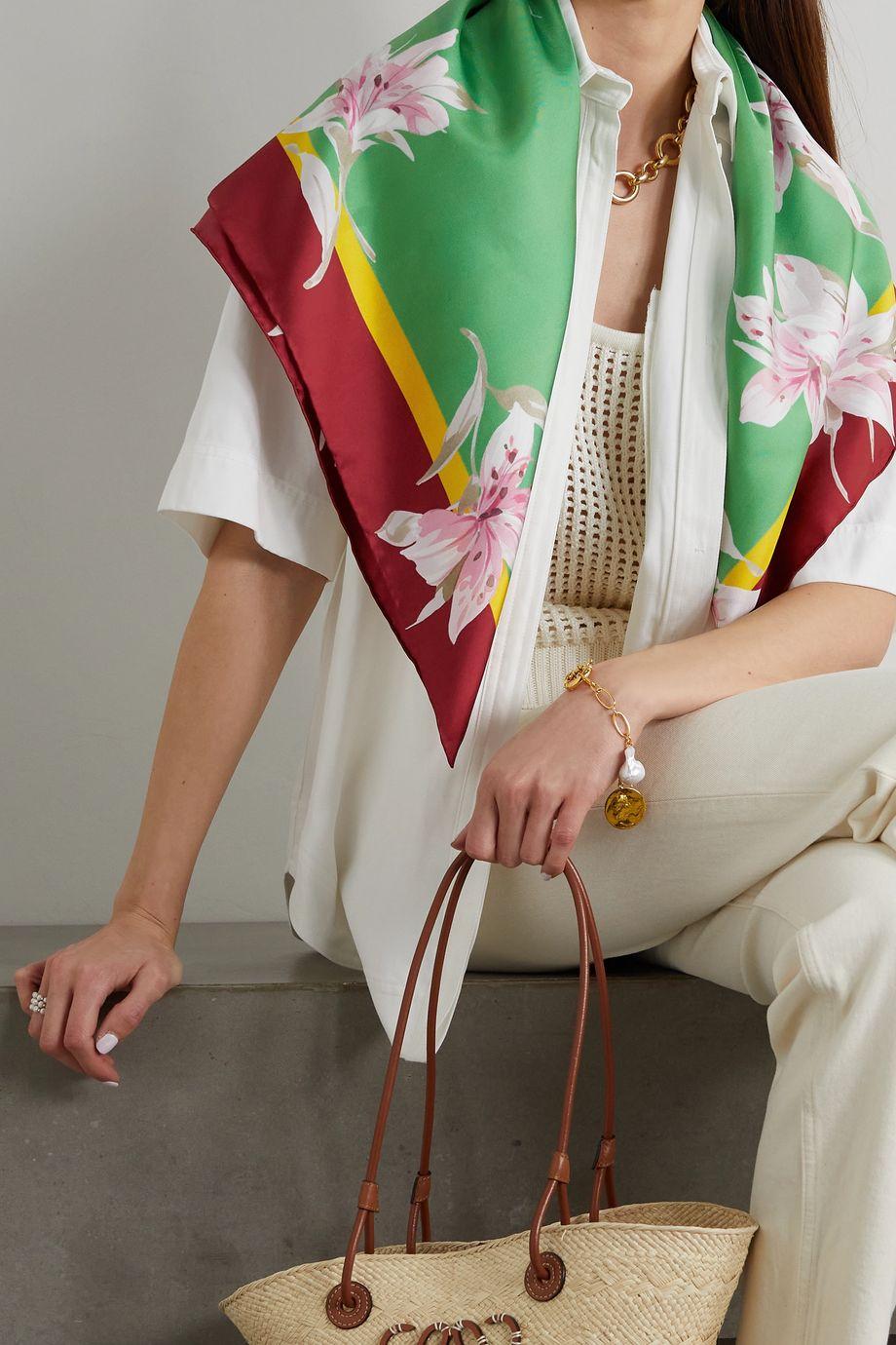 Valentino Foulard en serge de soie à imprimé fleuri