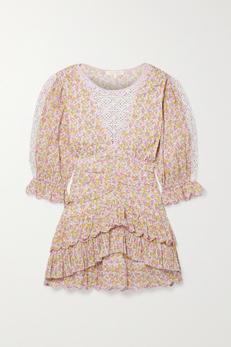 LoveShackFancy Marquise gestuftes Minikleid aus Baumwoll-Voile mit Blumenprint und Häkeleinsätzen