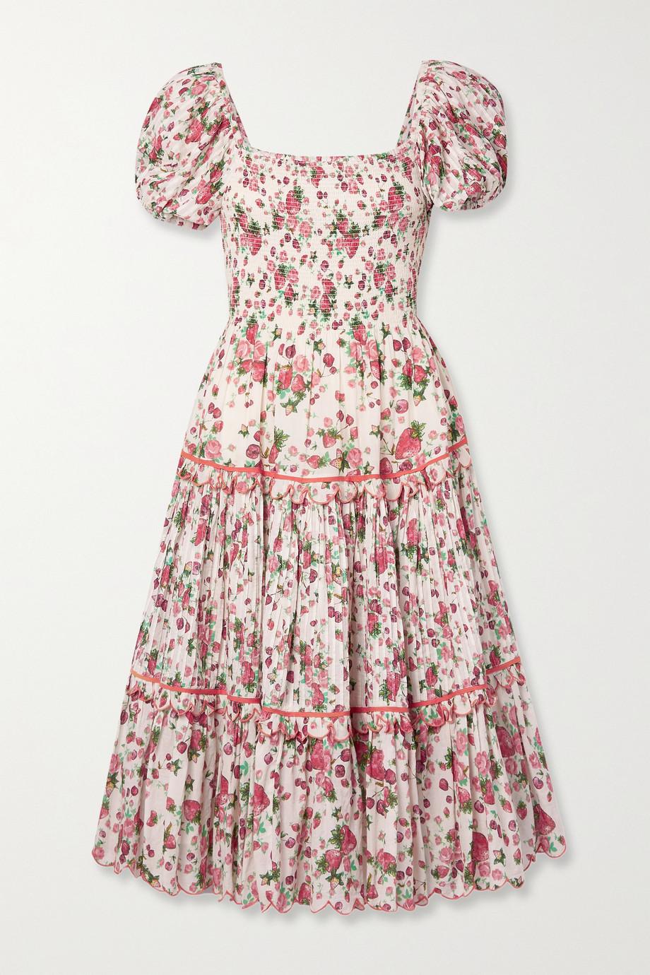 LoveShackFancy Masie shirred printed cotton-voile midi dress