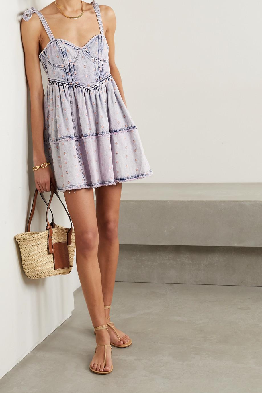 LoveShackFancy Dorna polka-dot embroidered denim mini dress