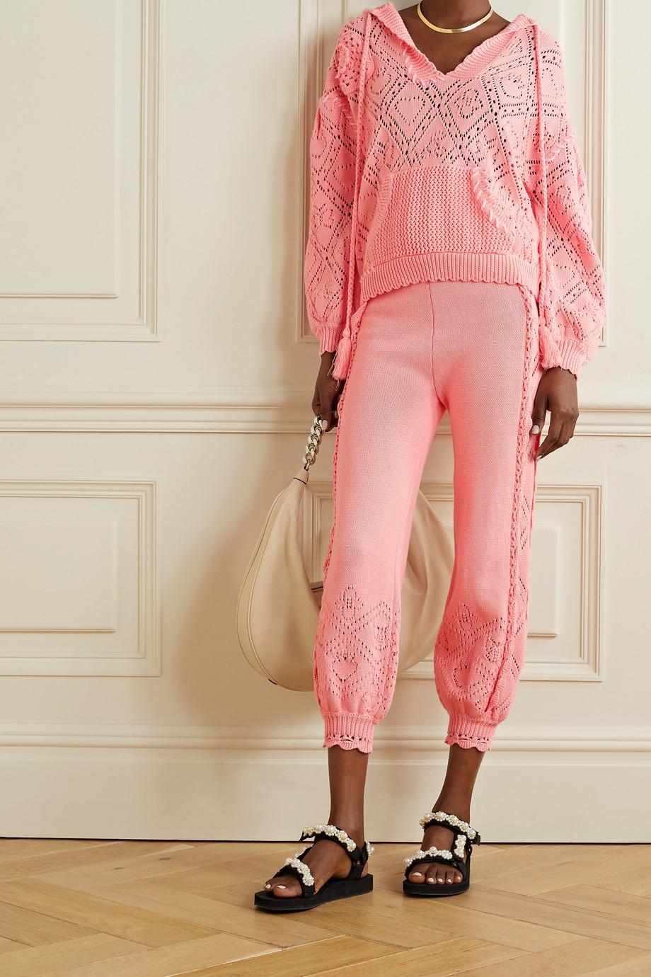 LoveShackFancy Tomaso pointelle-knit cotton hoodie