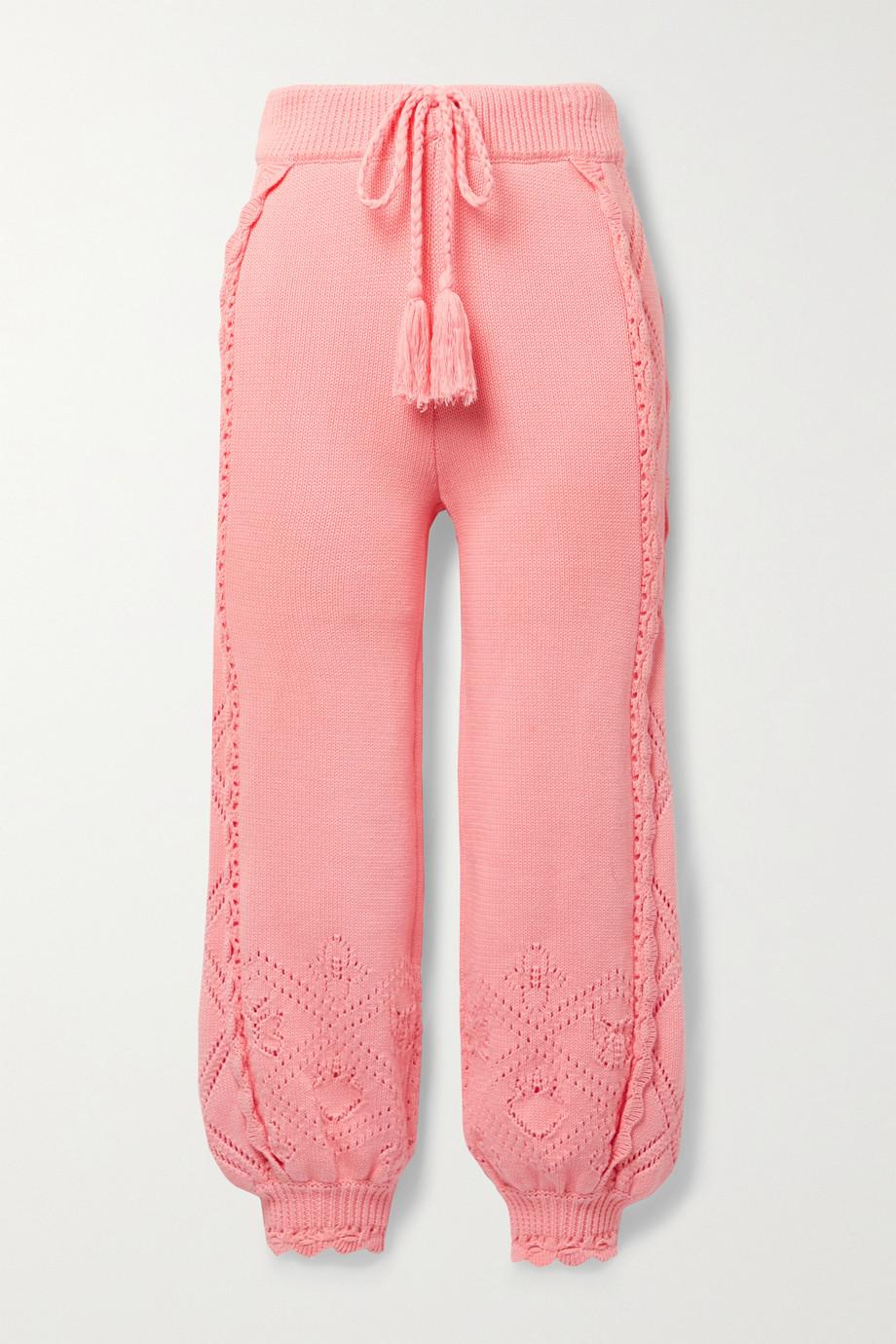 LoveShackFancy Nyla scalloped pointelle-knit cotton track pants