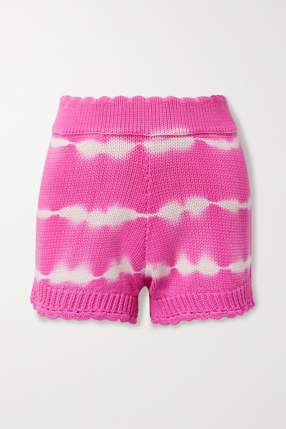 LoveShackFancy Karrisa Shorts aus einer Baumwollmischung mit Batikmuster und Wellenkanten