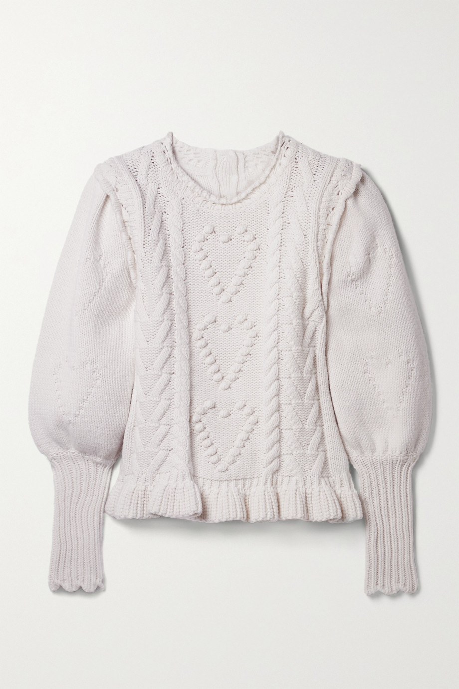 LoveShackFancy Calantha ruffled cable-knit sweater