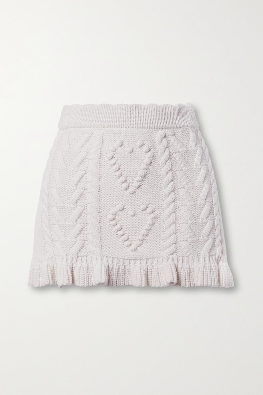 LoveShackFancy Brendana ruffled cable-knit mini skirt