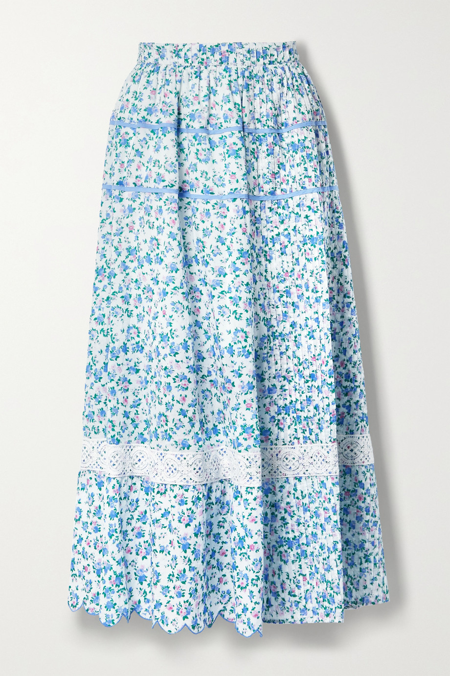 LoveShackFancy Saratoga crochet-trimmed scalloped floral-print cotton-voile midi skirt