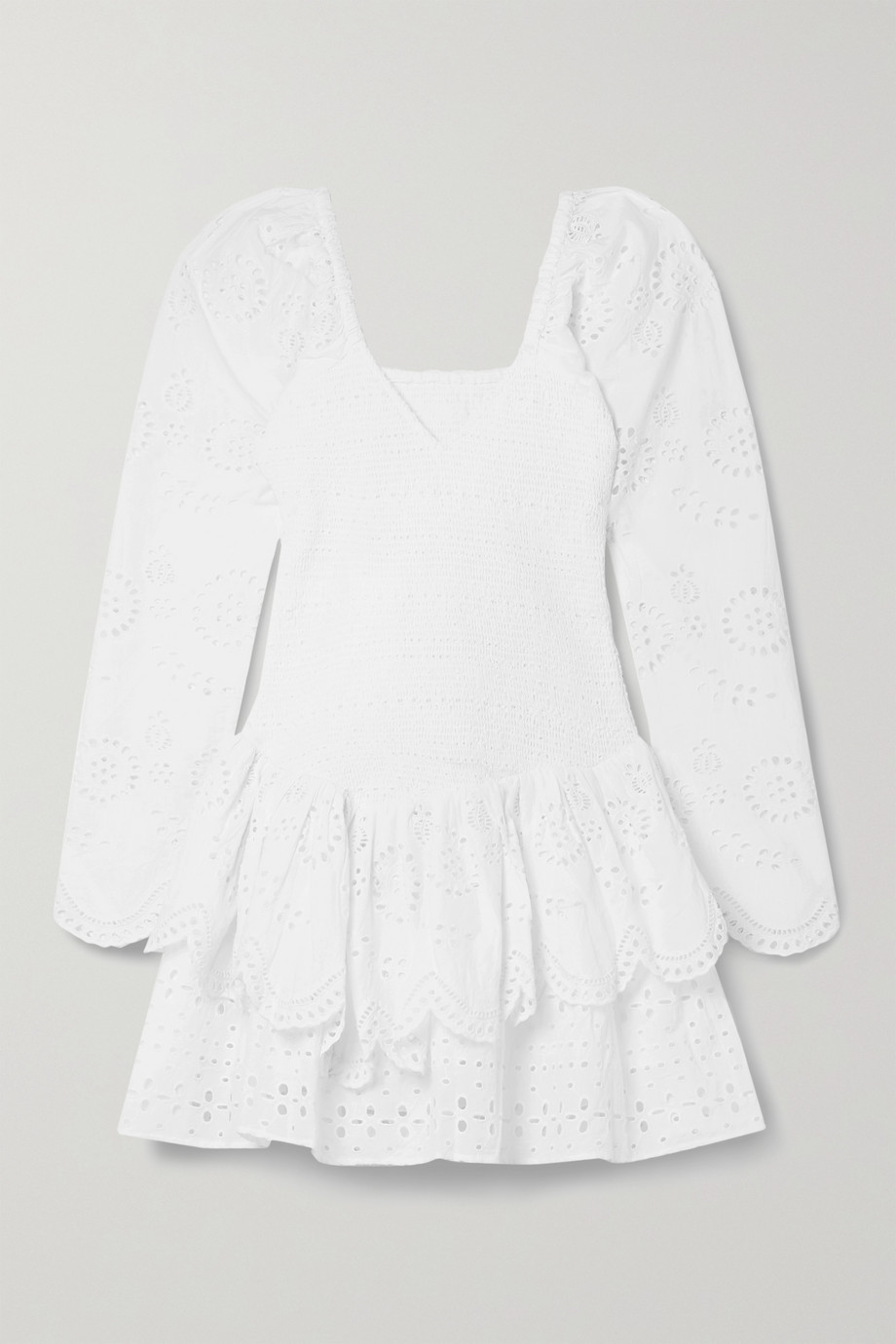 LoveShackFancy Cedria shirred broderie anglaise cotton-voile mini dress