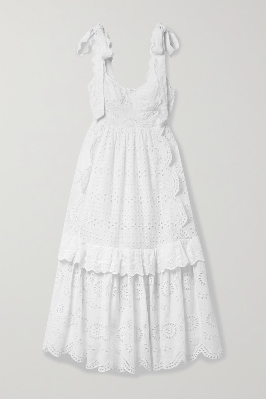 LoveShackFancy Antonella tiered broderie anglaise cotton midi dress