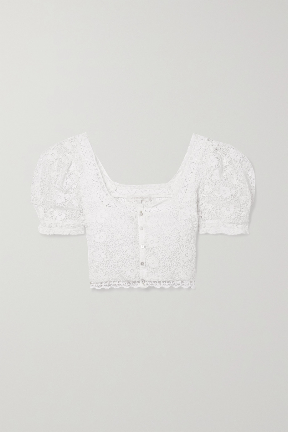 LoveShackFancy Carmeline cropped lace-trimmed crocheted cotton top