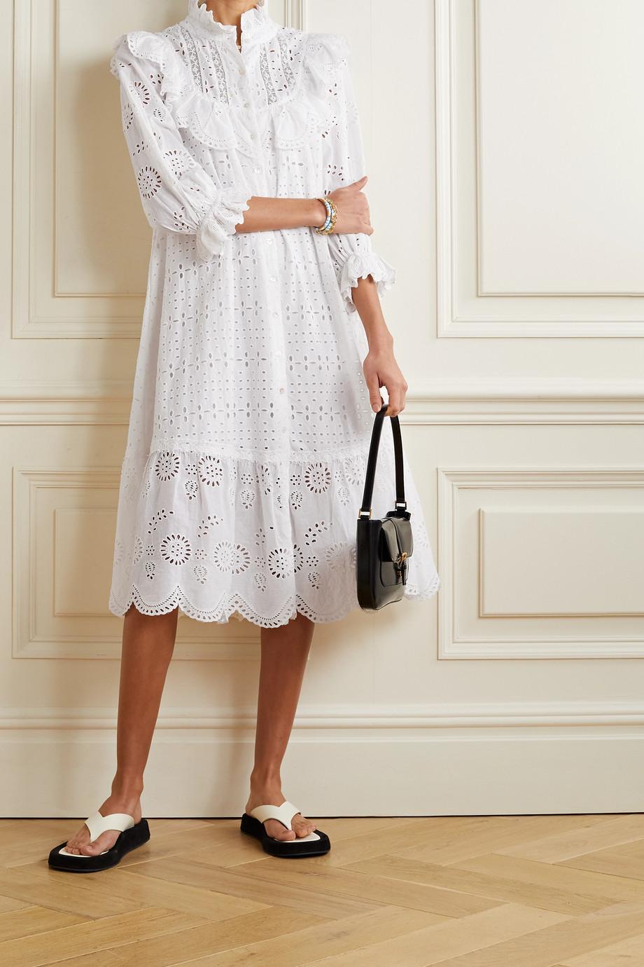 LoveShackFancy Elspeth crochet-trimmed scalloped broderie anglaise cotton-voile shirt dress