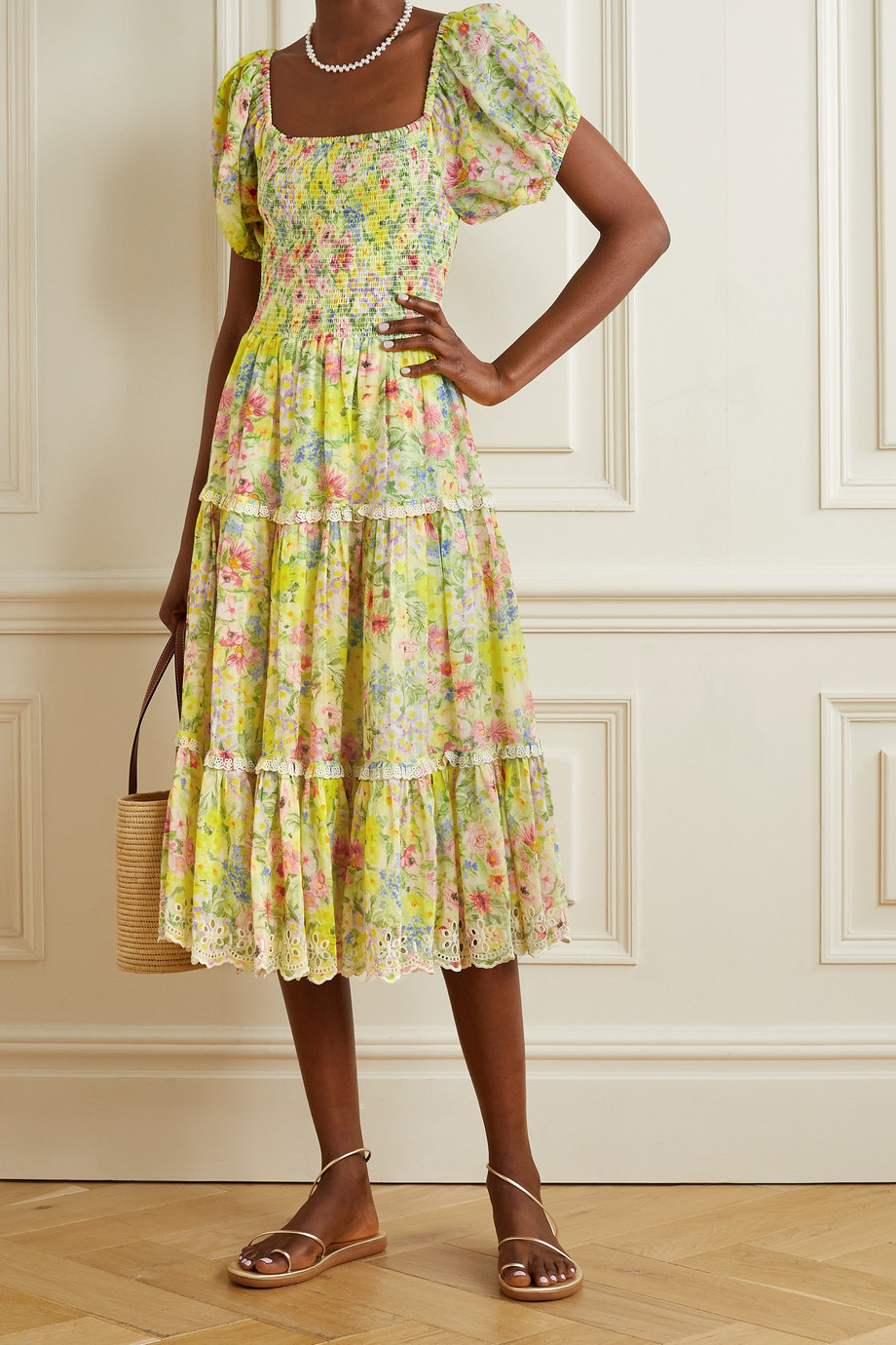 LoveShackFancy Masie floral-print broderie anglaise cotton and silk-blend midi dress