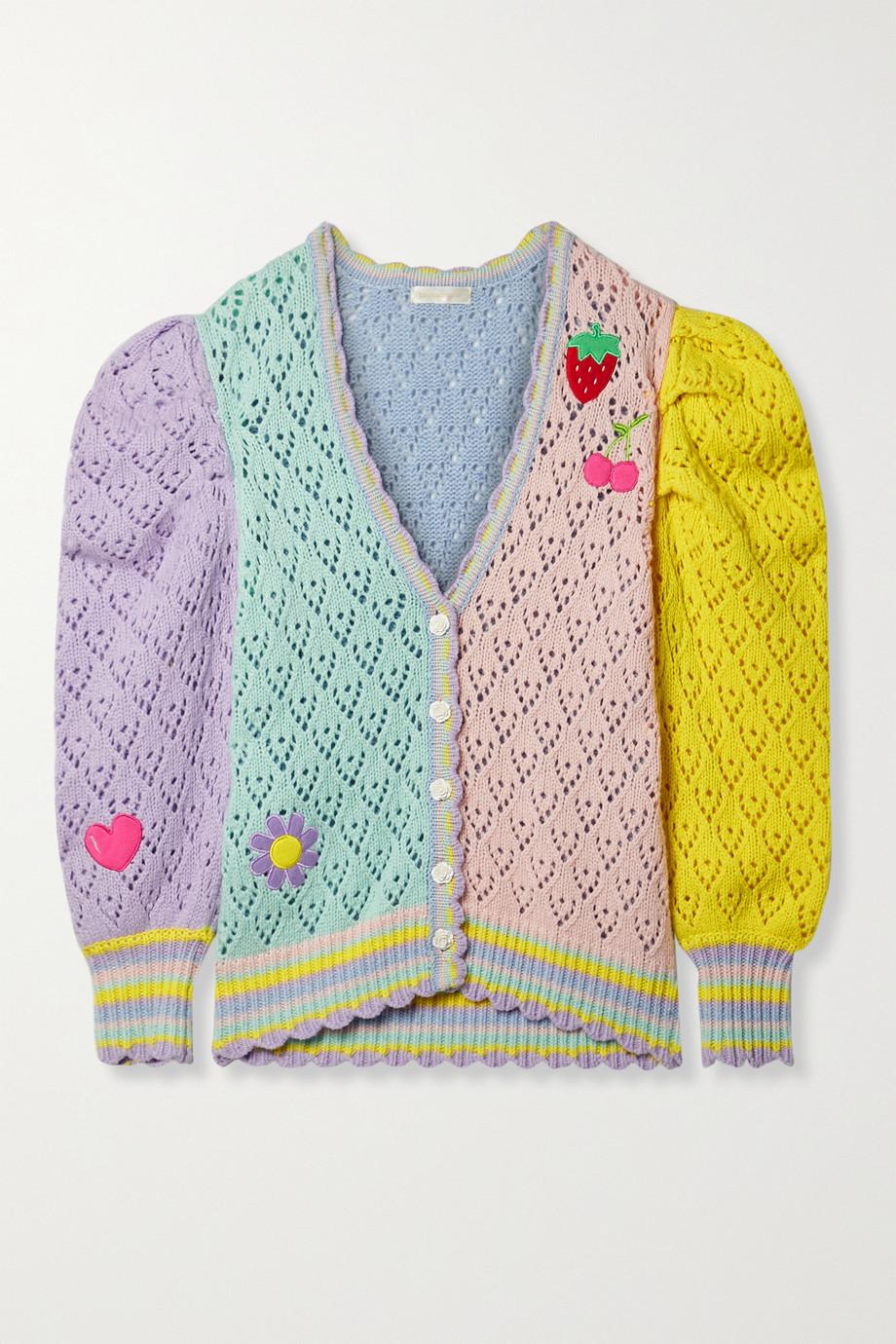 LoveShackFancy Brody Oversized-Cardigan aus Lochstrick mit Applikationen in Colour-Block-Optik