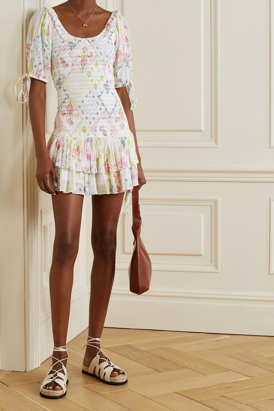 LoveShackFancy Violet ruffled shirred printed cotton-voile mini dress