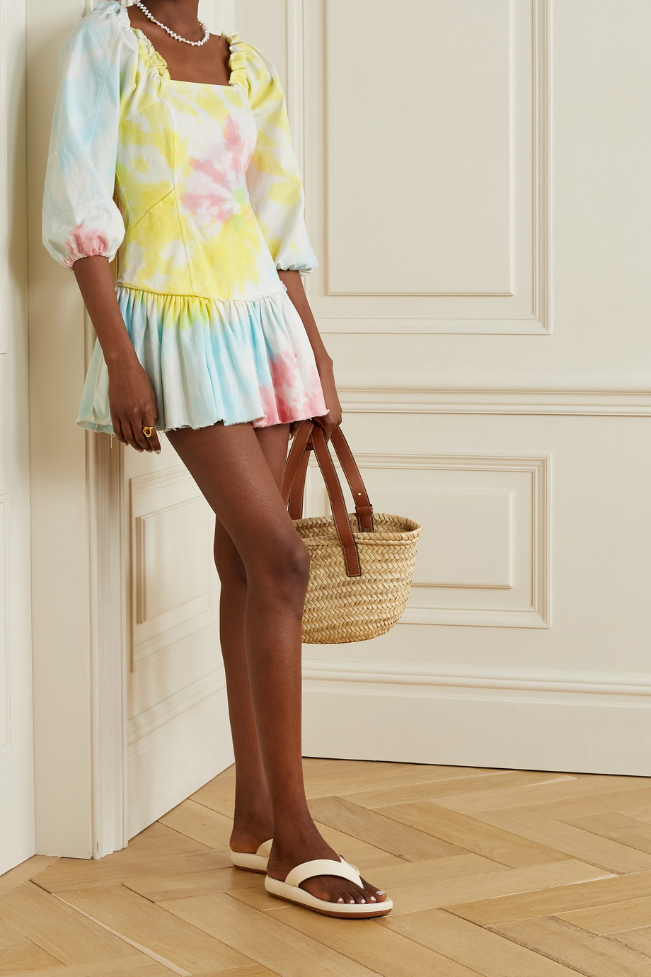 LoveShackFancy Chai frayed tie-dyed cotton-blend twill mini dress