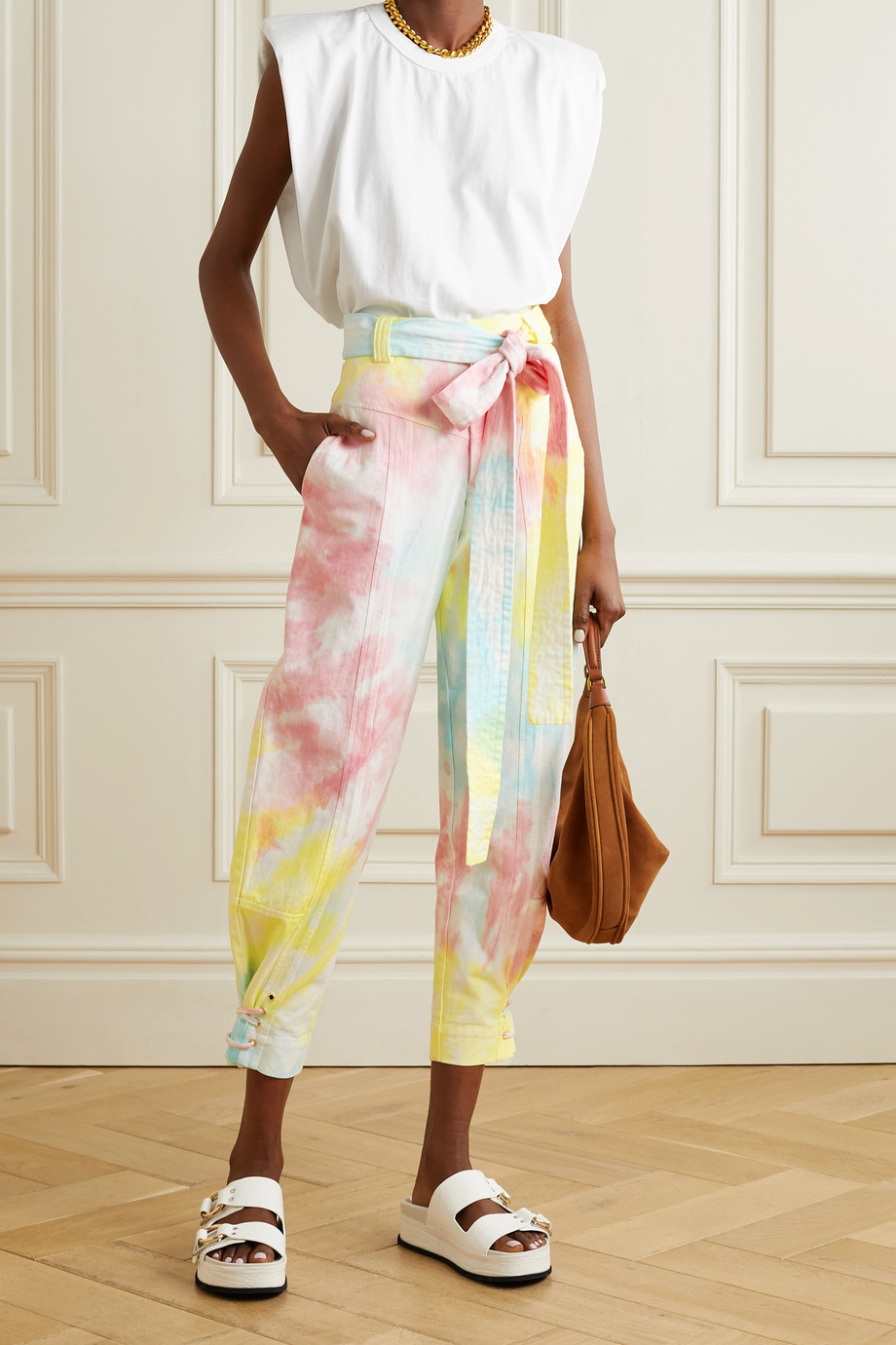LoveShackFancy Tao cropped belted tie-dyed cotton-blend twill tapered pants