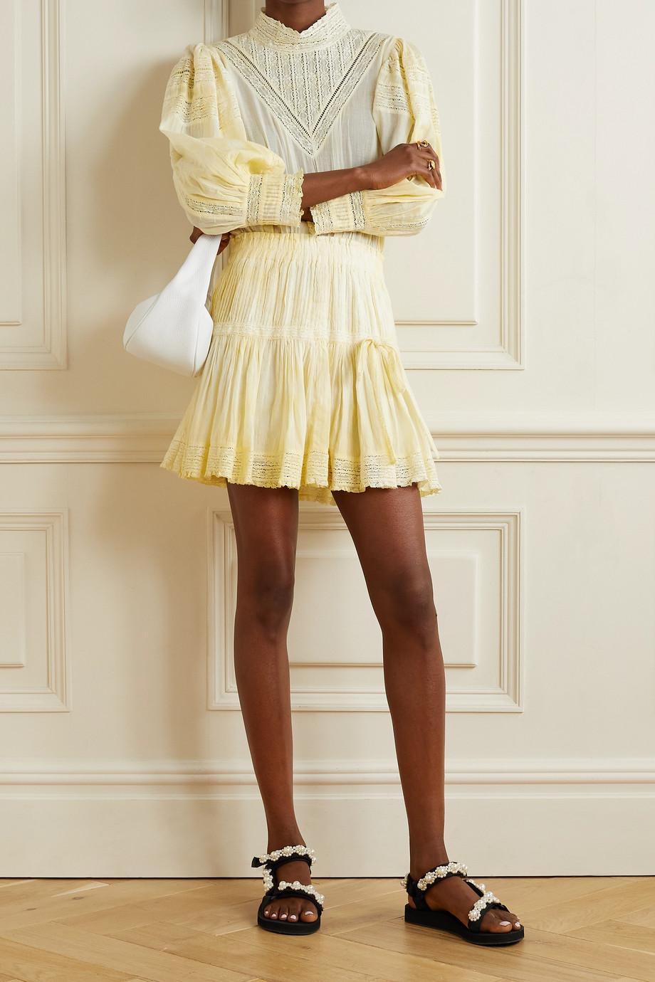 LoveShackFancy Viola lace-trimmed cotton-voile mini dress