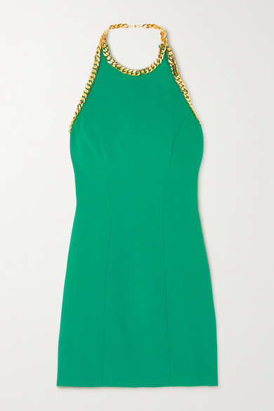 Rowen Rose Mini dresses CHAIN-EMBELLISHED CREPE HALTERNECK MINI DRESS