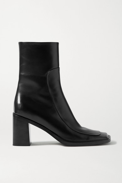 The Row Leathers PATCH PANELED LEATHER ANKLE BOOTS