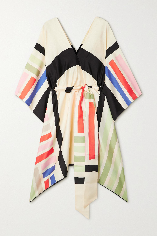 Louisa Parris + NET SUSTAIN Cole asymmetrisches Kleid aus Seiden-Twill mit Bindegürtel