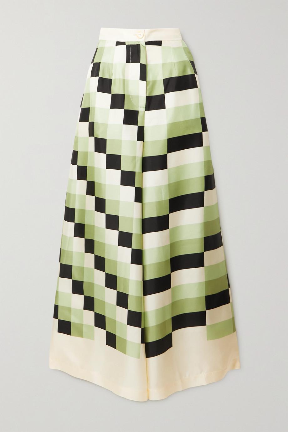 Louisa Parris + NET SUSTAIN The Vienna printed silk-twill wide-leg pants