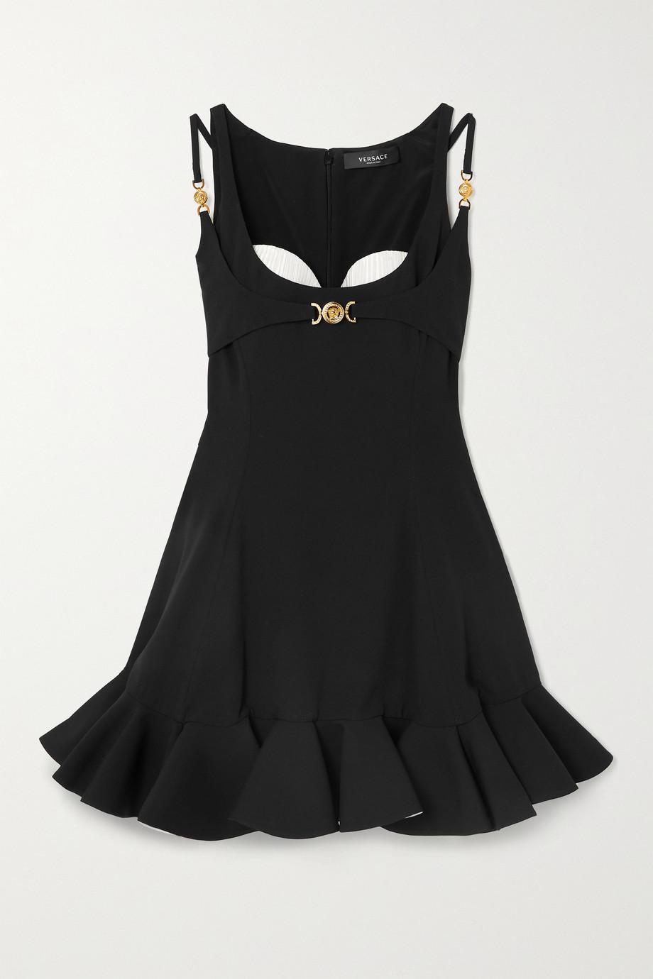 Versace Minikleid aus Cady mit plissierten Partien und Rüschen