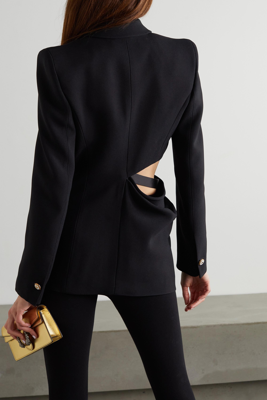 Versace Embellished cutout silk satin-trimmed cady blazer
