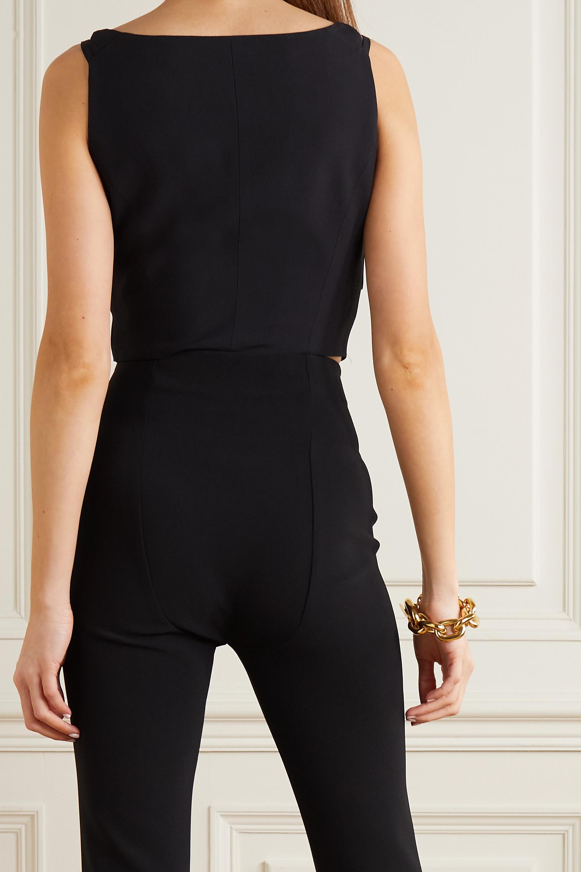 Versace Cropped embellished satin-trimmed crepe top