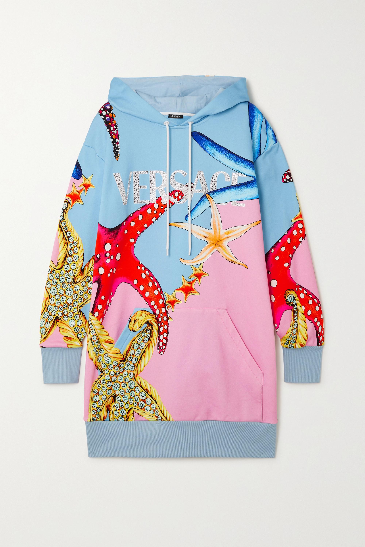 Versace Sweat à capuche en jersey de coton imprimé à cristaux La Medusa