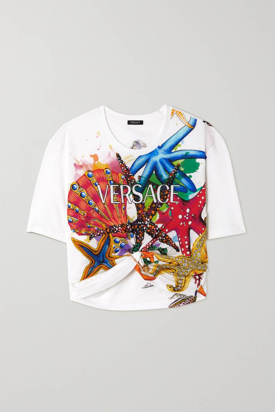 Versace La Medusa verkürztes T-Shirt aus Baumwoll-Jersey mit Print und Verzierung
