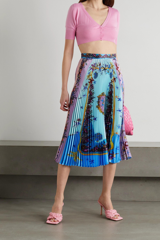 Versace La Medusa pleated printed satin midi skirt