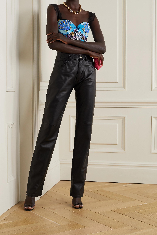 Versace La Medusa Bustier aus bedrucktem Seiden-Twill mit Spitzenbesätzen