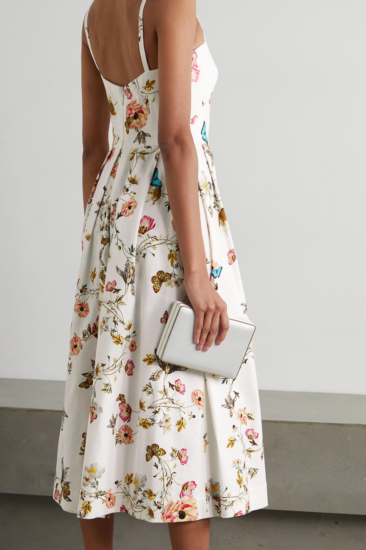 Monique Lhuillier Midikleid aus einer Baumwollmischung mit Blumenprint und Falten