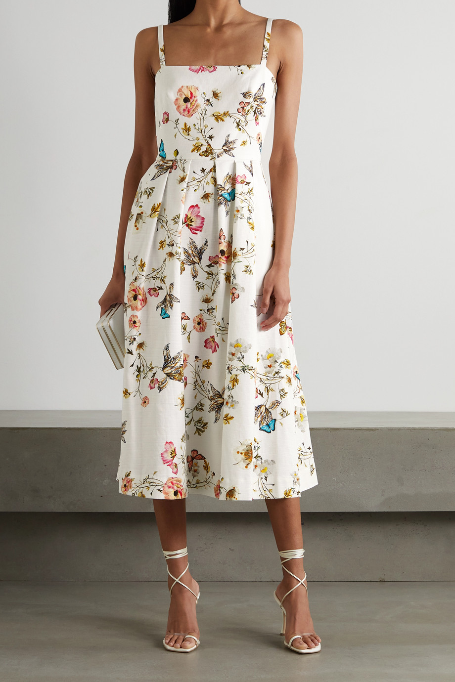 Monique Lhuillier Pleated floral-print cotton-blend midi dress