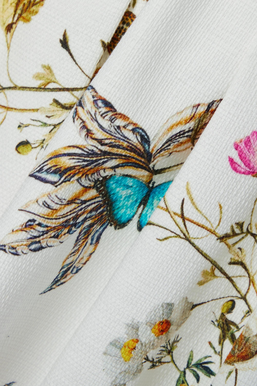 Monique Lhuillier Jupe midi en coton mélangé à imprimé fleuri et à plis ronds