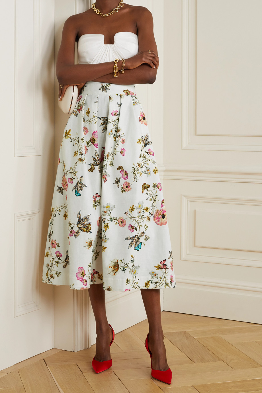 Monique Lhuillier Pleated floral-print cotton-blend midi skirt