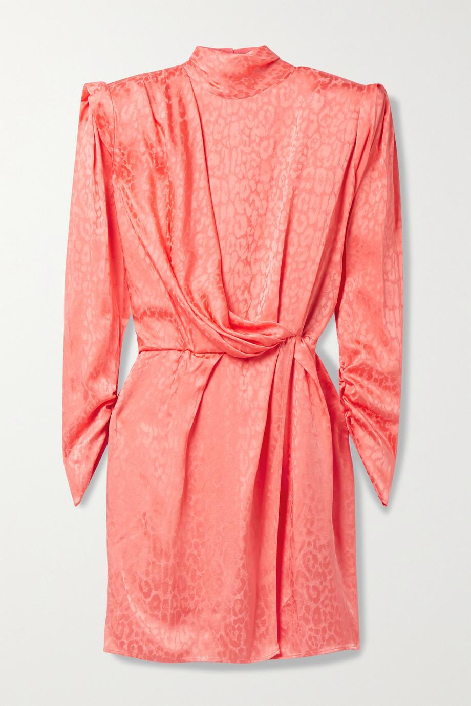 Dundas Montana draped wrap-effect satin-jacquard mini dress