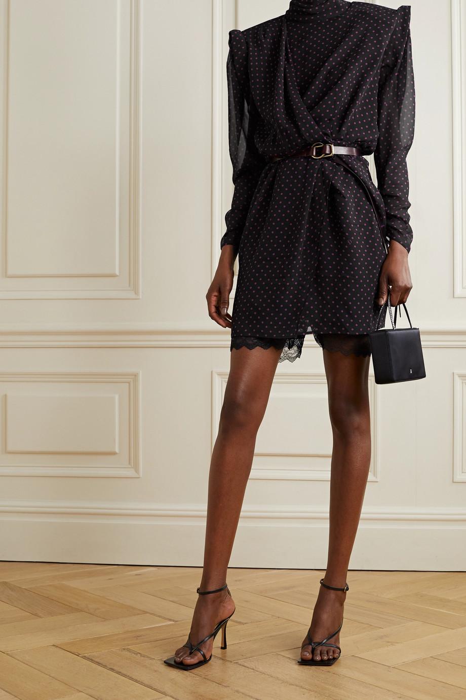 Dundas Montana draped wrap-effect polka-dot silk-georgette mini dress
