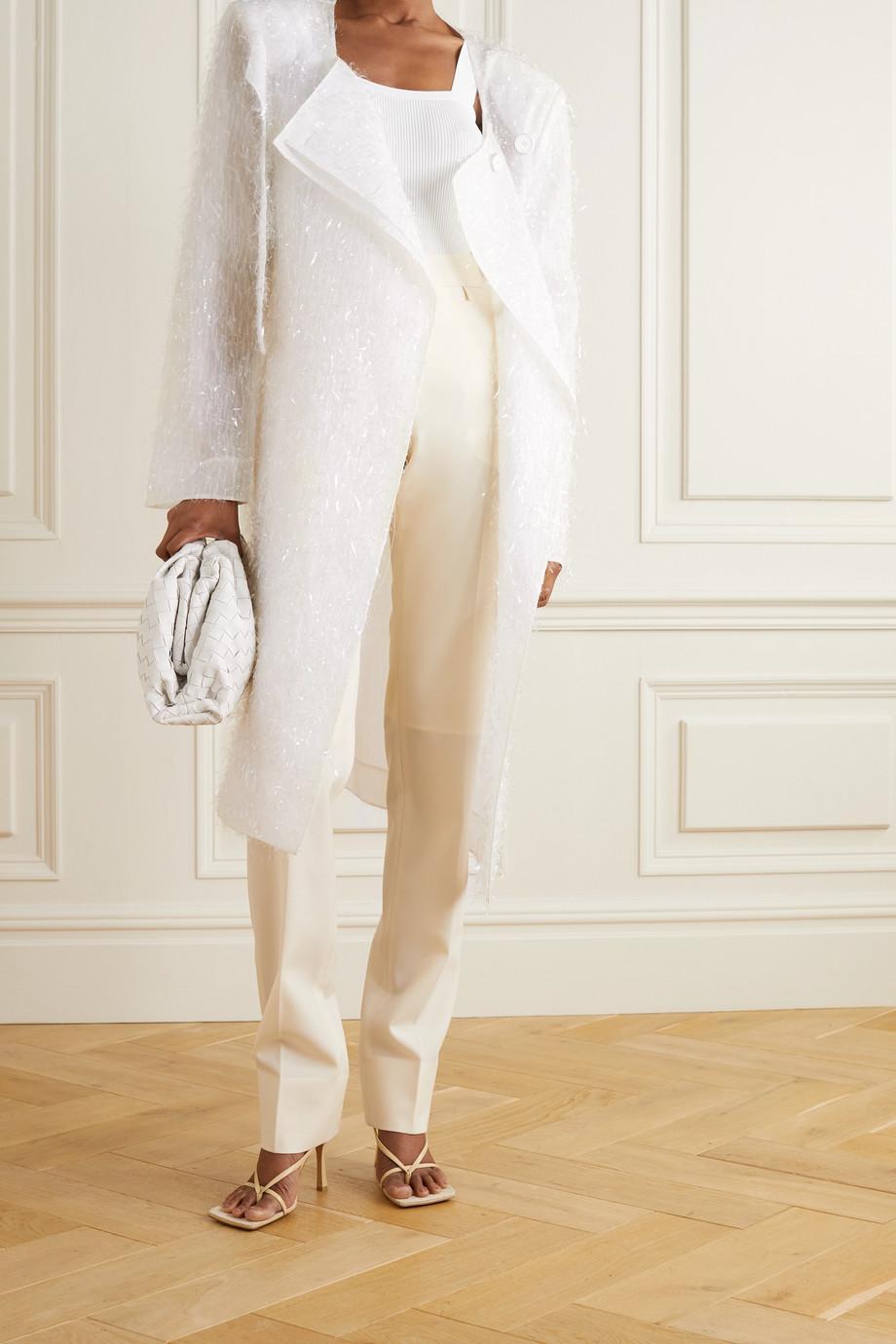 Givenchy Manteau oversize en organza de soie mélangée à franges