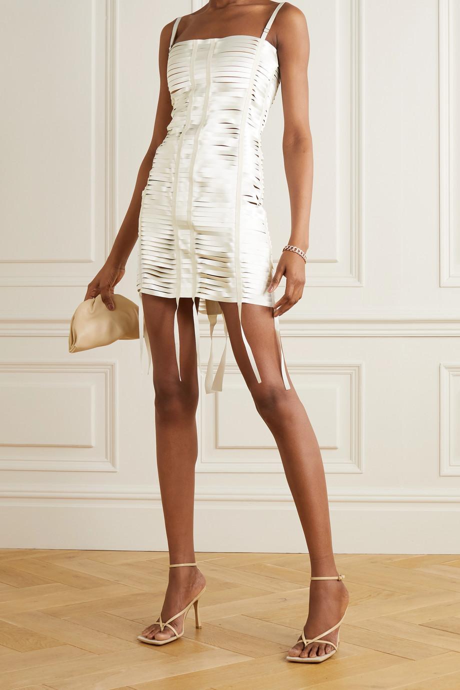 Givenchy Mini-robe en satin à découpes et à finitions en gros-grain