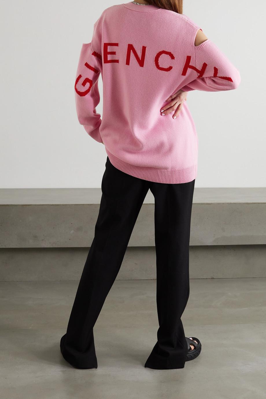 Givenchy Cardigan laine et cachemire mélangés jacquard à découpes