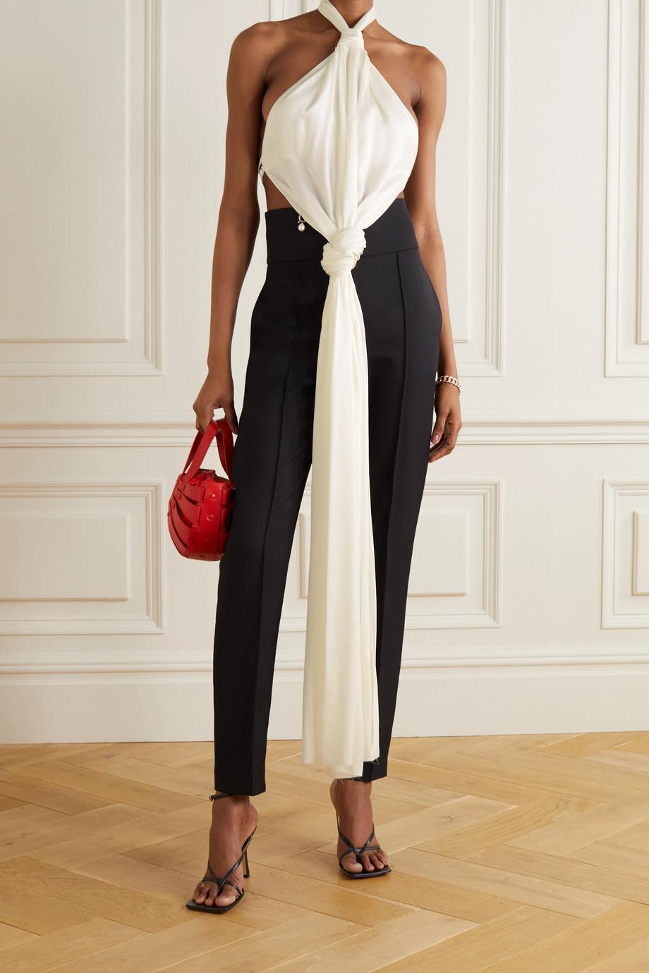 Givenchy Open-back knotted crepe halterneck top