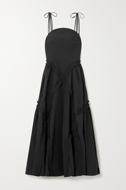 MINJUKIM Asymmetric shirred poplin dress