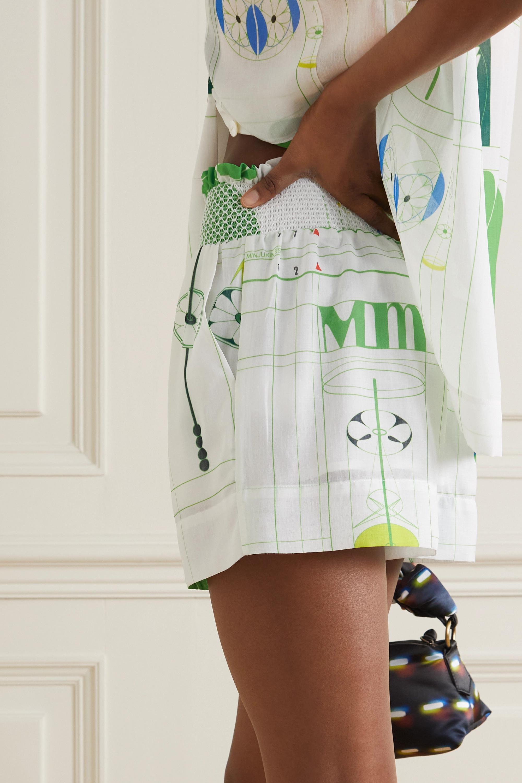 MINJUKIM Shorts aus bedrucktem Voile mit Smokarbeit