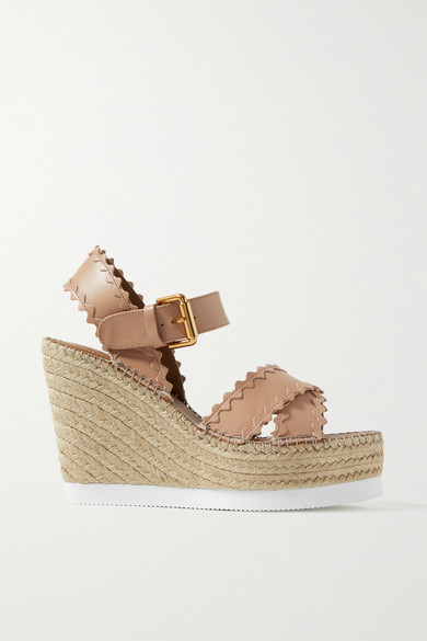 See By Chloé Wedges GLYNN SCALLOPED LEATHER ESPADRILLE WEDGE SANDALS