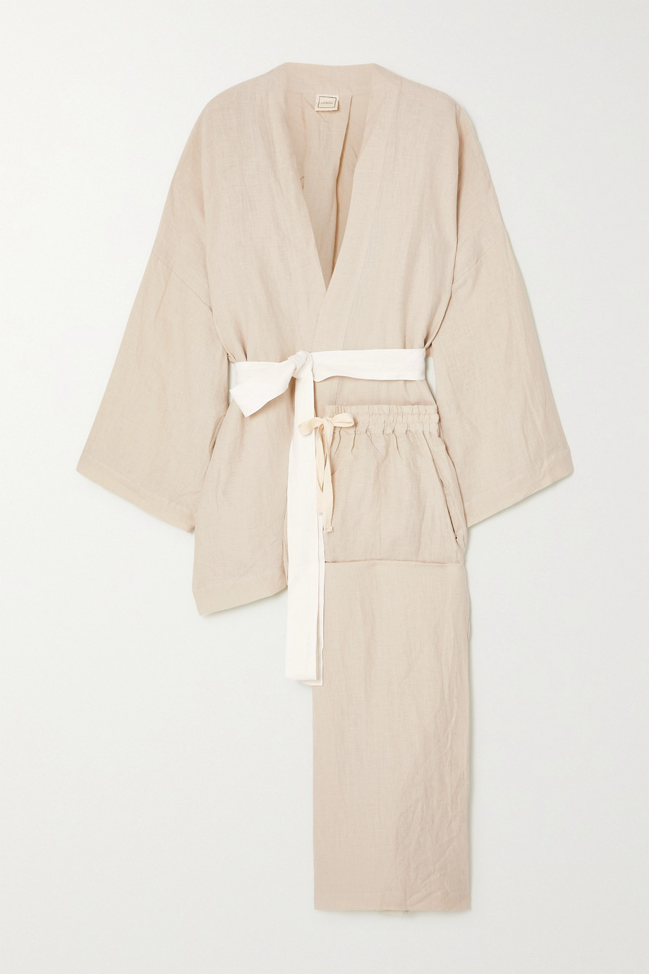 Deiji Studios The 01 washed-linen belted top and pants set