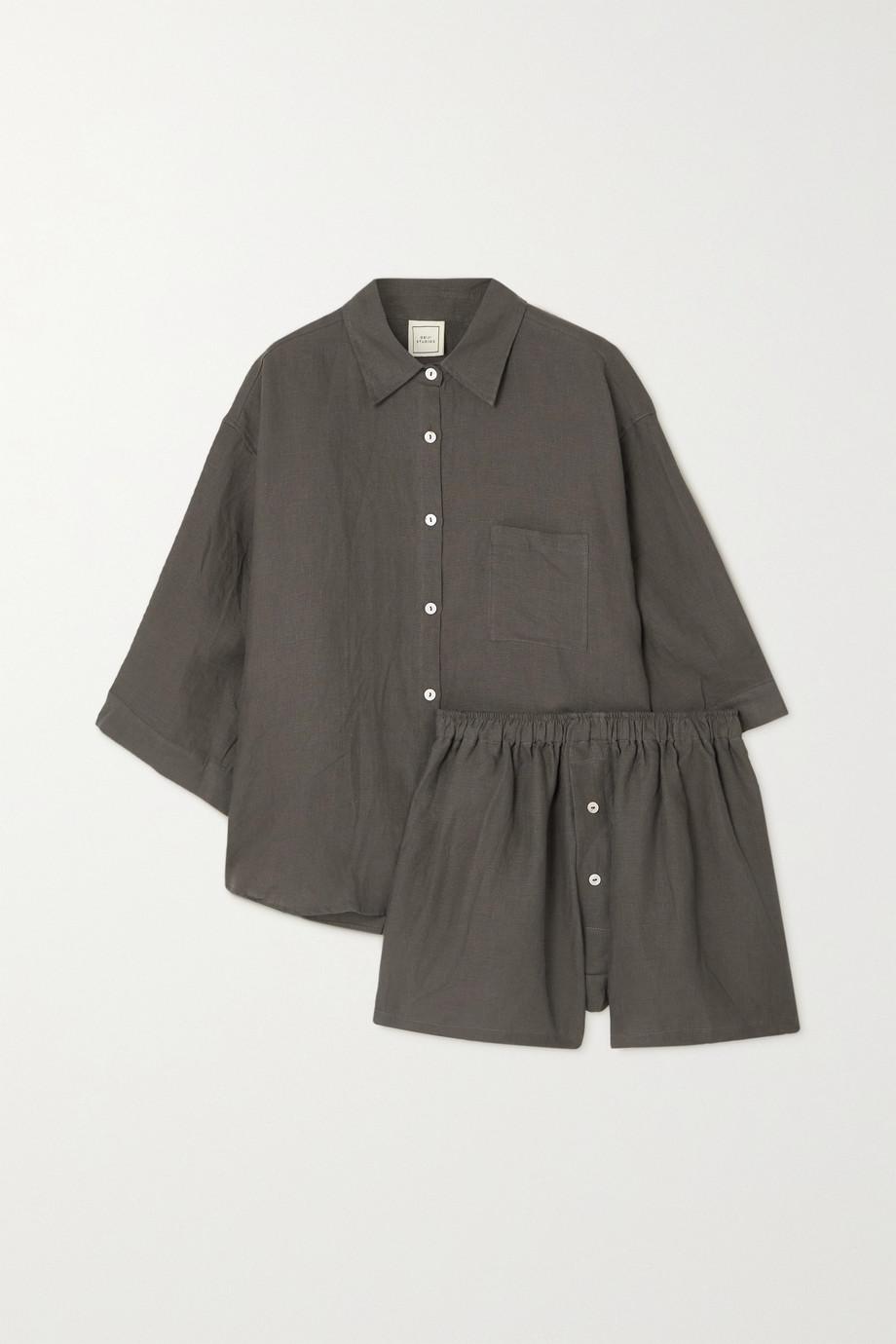 Deiji Studios 03 washed-linen shirt and shorts set