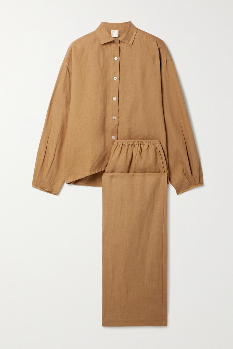 Deiji Studios + NET SUSTAIN linen shirt and wide-leg pants set