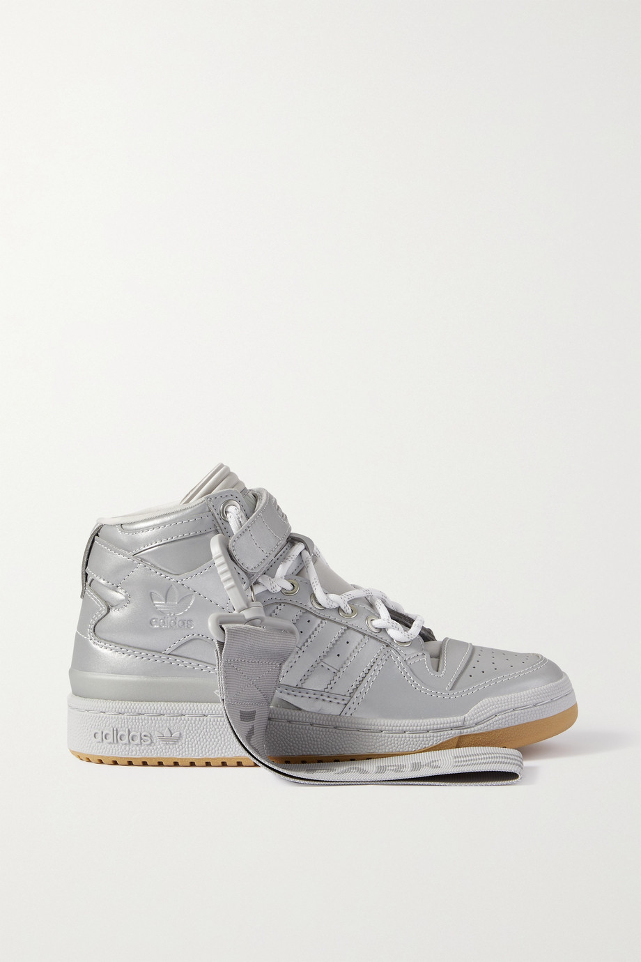 adidas Originals + Ivy Park Forum Mid metallic faux leather high-top sneakers